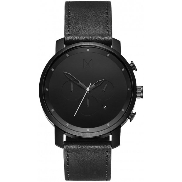 Hodinky MVMT CHRONO SERIES - 45 MM BLACK LEATHER MC01-BL