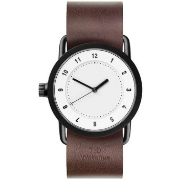 TID Watches No.1 36 White / Walnut Leather Wristband