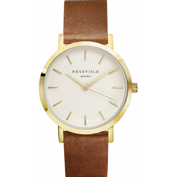 Hodinky ROSEFIELD TTHE GRAMERCY WHITE GOLD / BROWN 38 MM