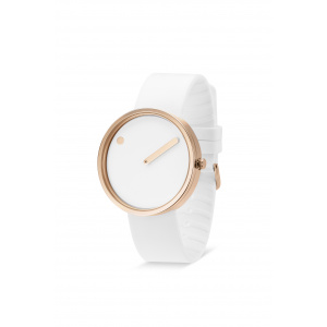 Hodinky PICTO WHITE/POLISHED ROSE GOLD 43383-0220R