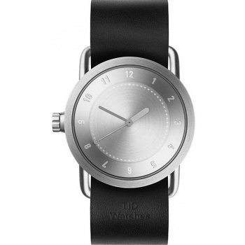 TID Watches No.1 36 Steel / Black Leather Wristband