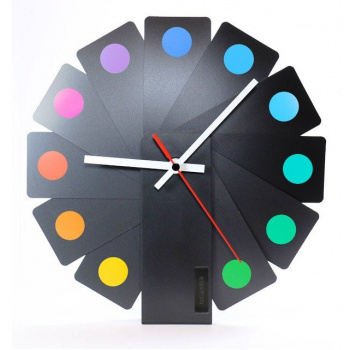 KIBARDINDESIGN TRANSFORMER ANALOG CLOCK / BLACK & SPOTS