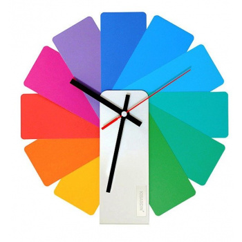 KIBARDINDESIGN TRANSFORMER ANALOG CLOCK / WHITE & MULTICOLOR