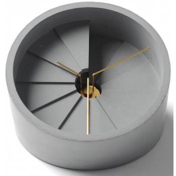 22 DESIGN STUDIO 4th Dimension Table Clock - Gold/ Dark Gr