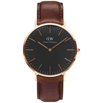DANIEL WELLINGTON CLASSIC BLACK BRISTOL ROSE GOLD - VELKÉ