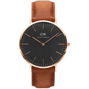 DANIEL WELLINGTON CLASSIC BLACK DURHAM ROSE GOLD - VELKÉ