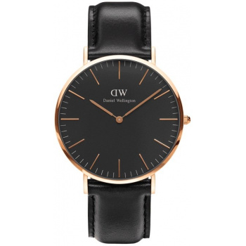 DANIEL WELLINGTON CLASSIC BLACK SHEFFIELD ROSE GOLD - VELKÉ