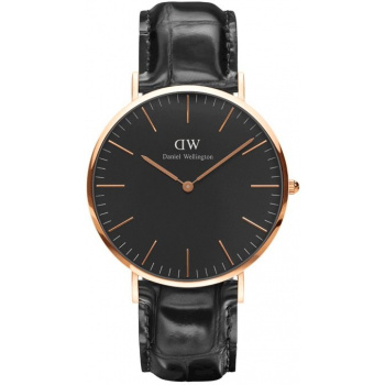DANIEL WELLINGTON CLASSIC BLACK READING ROSE GOLD - VELKÉ