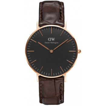DANIEL WELLINGTON CLASSIC BLACK YORK ROSE GOLD