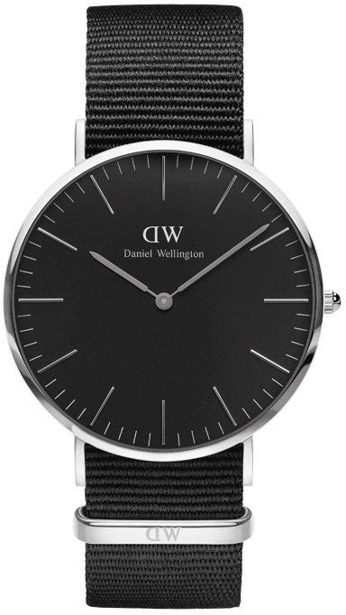DANIEL WELLINGTON CLASSIC BLACK CORNWALL SILVER - VELKÉ DW00100149 + dárek zdarma