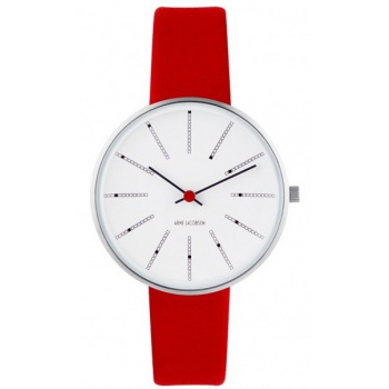 ARNE JACOBSEN BANKERS WHITE DIAL, RED STRAP, SILVER