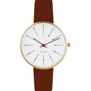 ARNE JACOBSEN BANKERS WHITE DIAL, BROWN STRAP, GOLD