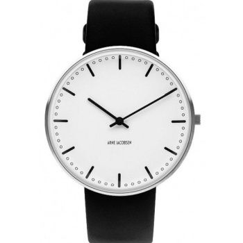 ARNE JACOBSEN CITY HALL WHITE DIAL, BLACK STRAP, SILVER - VELKÉ