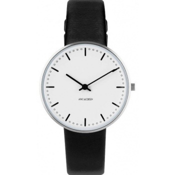 ARNE JACOBSEN CITY HALL WHITE DIAL, BLACK STRAP, SILVER