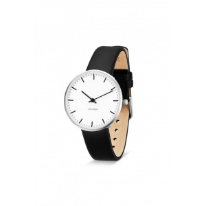 Hodinky ARNE JACOBSEN CITY HALL WHITE DIAL, BLACK STRAP, SILVER