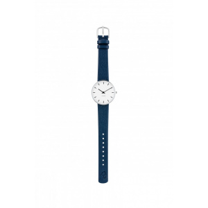 Hodinky ARNE JACOBSEN CITY HALL WHITE DIAL, NAVY BLUE STRAP, SILVER