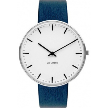 ARNE JACOBSEN CITY HALL WHITE DIAL, NAVY BLUE STRAP, SILVER - VELKÉ