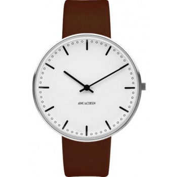 ARNE JACOBSEN CITY HALL WHITE DIAL, BROWN STRAP, SILVER - VELKÉ