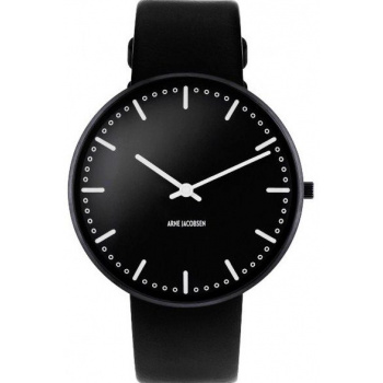 ARNE JACOBSEN CITY HALL BLACK DIAL, BLACK STRAP, BLACK - VELKÉ