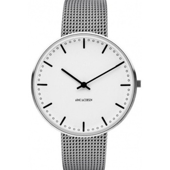 ARNE JACOBSEN CITY HALL WHITE DIAL, MESH BAND, SILVER - VELKÉ