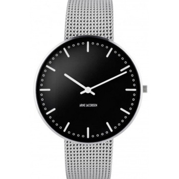 ARNE JACOBSEN CITY HALL BLACK DIAL, MESH BAND, SILVER - VELKÉ
