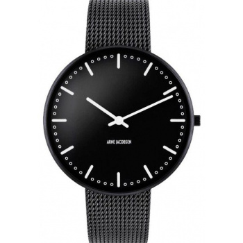 ARNE JACOBSEN CITY HALL BLACK DIAL, MESH BAND, BLACK - VELKÉ