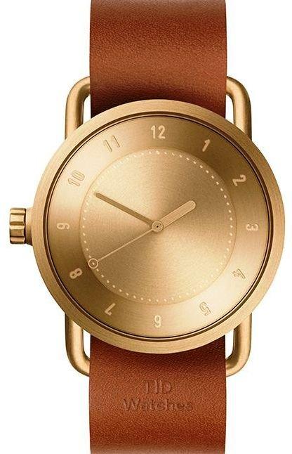 TID Watches No.1 Gold / Tan Leather Wristband + dárek zdarma