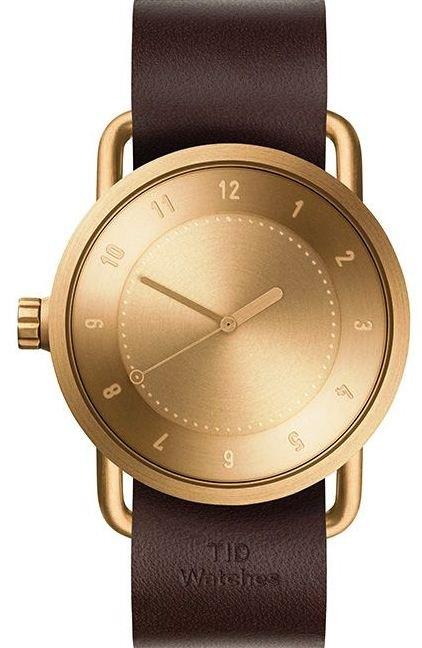 TID Watches No.1 Gold / Walnut Leather Wristband + dárek zdarma