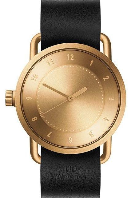 TID Watches No.1 Gold / Black Leather Wristband + dárek zdarma