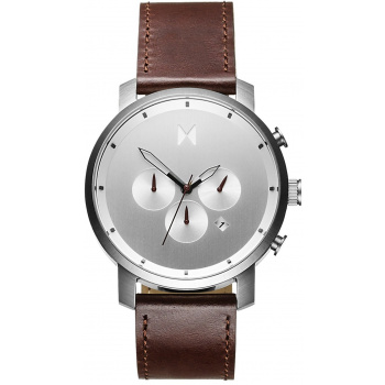 MVMT CHRONO SILVER / BROWN LEATHER