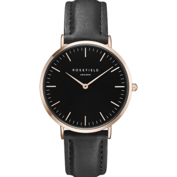 ROSEFIELD THE BOWERY BLACK BLACK ROSE GOLD / 38 MM
