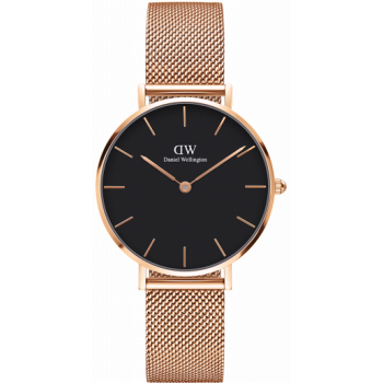 DANIEL WELLINGTON CLASSIC PETITE MELROSE ROSE GOLD BLACK 32MM
