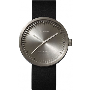 LEFF TUBE WATCH D38 / STEEL WITH BLACK LEATHER STRAP