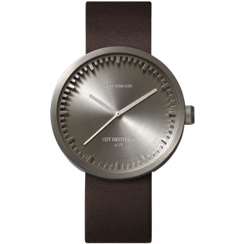 LEFF TUBE WATCH D38 / STEEL WITH BROWN LEATHER STRAP