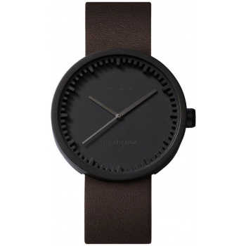 LEFF TUBE WATCH D38 / BLACK WITH BROWN LEATHER STRAP