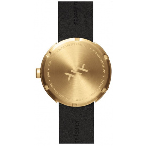 Hodinky LEFF TUBE WATCH D38 / BRASS WITH BLACK LEATHER STRAP