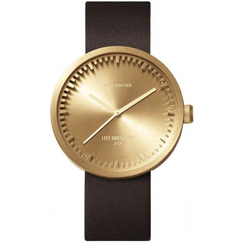 LEFF TUBE WATCH D38 / BRASS WITH BROWN LEATHER STRAP