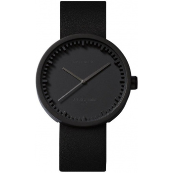 LEFF TUBE WATCH D42 /  BLACK WITH BLACK LEATRHE STRAP