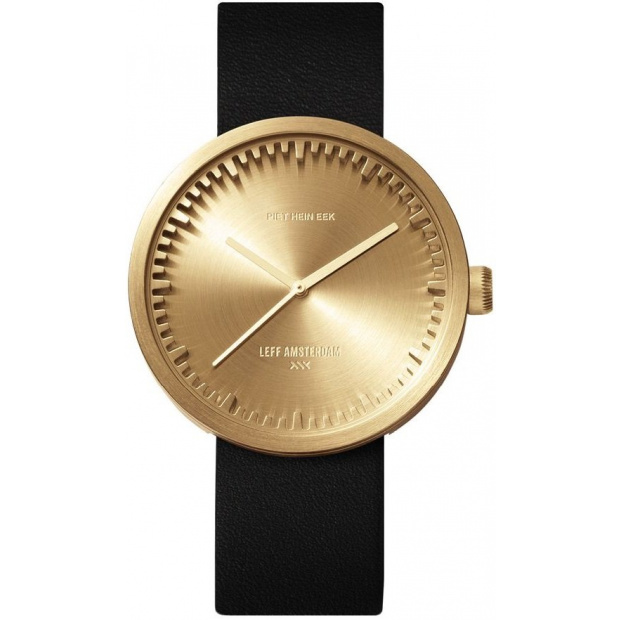 Hodinky LEFF TUBE WATCH D42 / BRASS WITH BLACK LEATHER STRAP