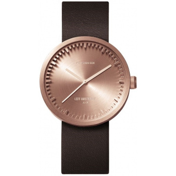 LEFF TUBE WATCH D38 / ROSE GOLD WITH BROWN LEATHER STRAP