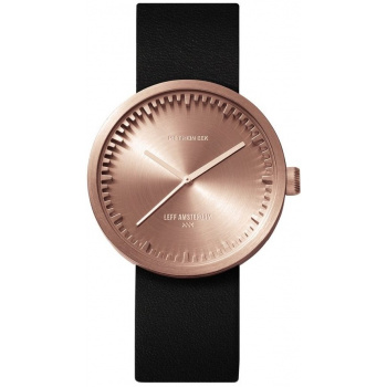 LEFF TUBE WATCH D38 / ROSE GOLD WITH BLACK LEATHER STRAP