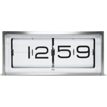 LEFF wall/desk clock brick stainless steel 24h white
