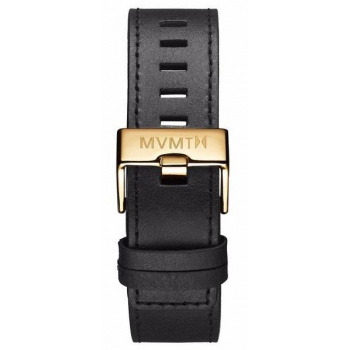 MVMT MENS CHRONO 45MM SERIES 22MM BLACK LEATHER GOLD