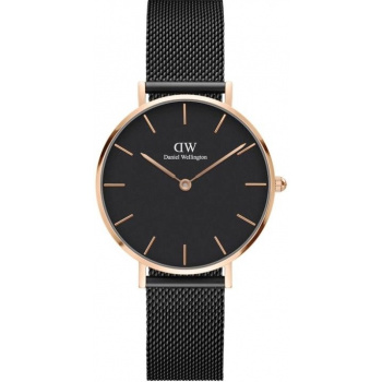 DANIEL WELLINGTON CLASSIC PETITE ASHFIELD ROSE GOLD BLACK 32MM