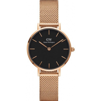 DANIEL WELLINGTON CLASSIC PETITE MELROSE ROSE GOLD BLACK 28MM