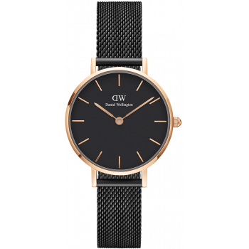 DANIEL WELLINGTON CLASSIC PETITE ASHFIELD ROSE GOLD BLACK 28MM DW00100245