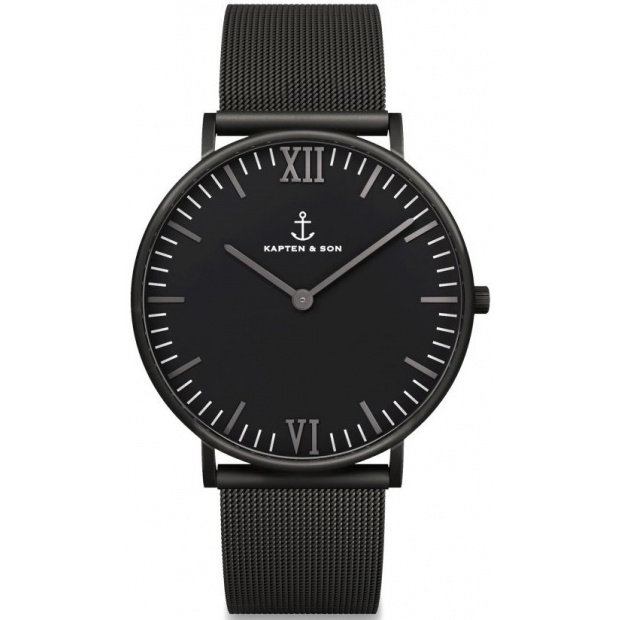 Hodinky KAPTEN and SON Black Midnight Mesh