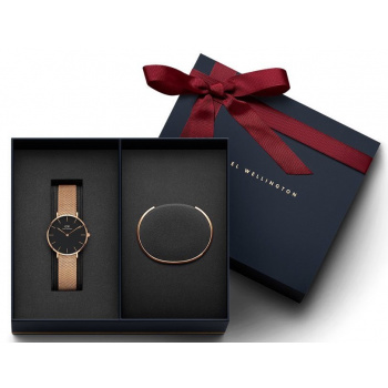 DANIEL WELLINGTON Gift Set-  Classic Petite Melrose Rose Gold Black 28MM a Rose Gold Small
