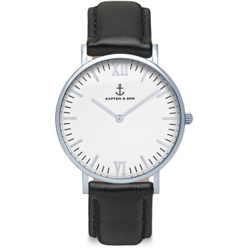 KAPTEN and SON Silver Black Leather