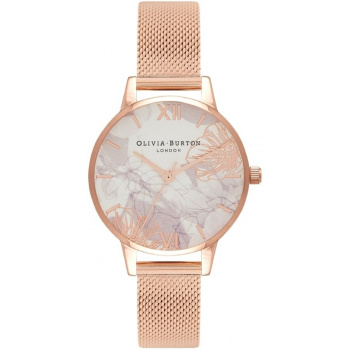 OLIVIA BURTON ABSTRACT FLORALS ROSE GOLD MESH